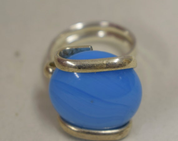 Ring Silver Sky Blue Colored Glass Handmade Glass Silver Jewelry Ring Fun Sky Blue Color Glass Unique