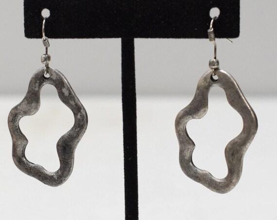 Earrings Turkish Pewter Uneven Oval Earrings