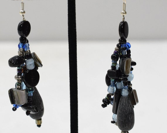 Earrings Black Shell Glass Beaded Earrings