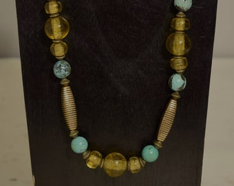 Necklace Chinese Turquoise Gold Glass Beaded Necklace