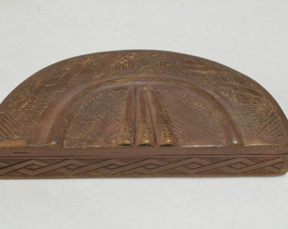 African Box Kuba Carved Wood Tukula Powder Box Congo Handmade Hand Carved Wood Red Powder Tribal Tukula Box