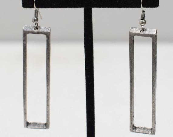 Earrings Turkish Pewter Open Rectangle Earrings