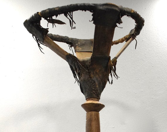 """African Tuareg Tribe Wood Leather Carved Gourd Holder Stand 48"""""""