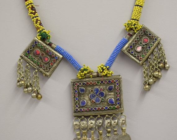 Necklace 3 Pendants Middle Eastern Silver Kuchi Coin Dangle Vintage Lapis Red Blue Green Glass Handmade Tribal Jewelry Belly Dancing