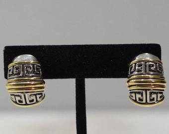 Earrings Gold Silver Etched Clip Earrings
