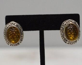 Earrings Textured Silver Glass Clip Earrings