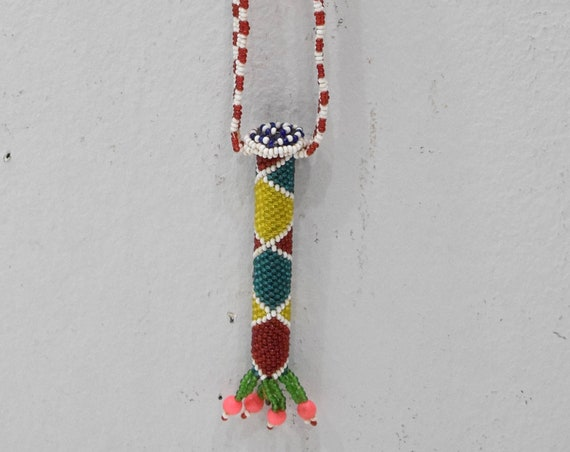 African Zulu Beaded Charm Fetish Necklace South Africa 15""