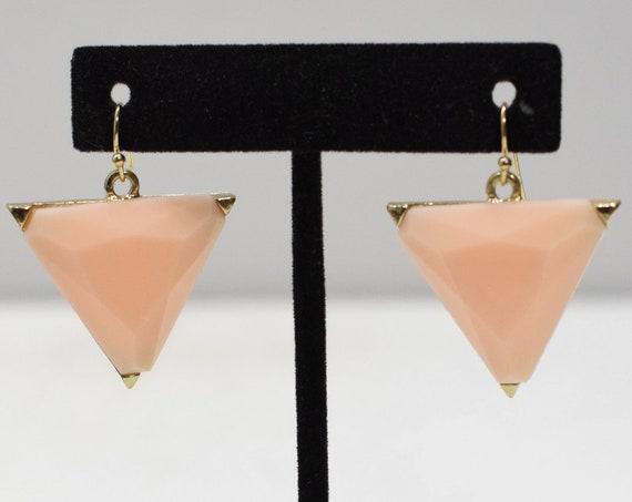 Earrings Faux Pink Glass Triangle Earrings