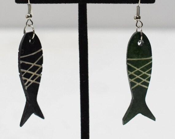Earrings Black Bone Fish Earrings