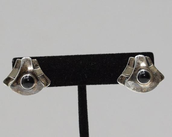 Earrings Sterling Silver Black Stone Post Earrings