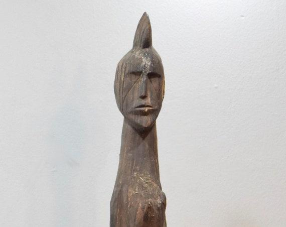 African Statue Lobi Funeral Post Wood Ghana Ancestors Male Wood Spirit Memorial Post