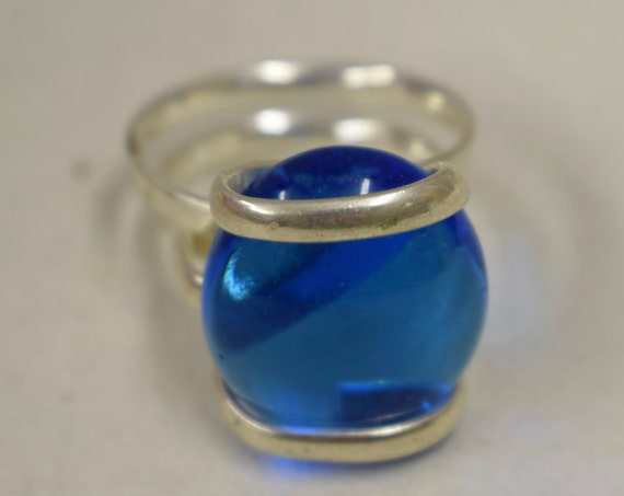 Ring Silver Clear Blue  Colored Glass Handmade Glass Silver Jewelry Ring Fun Clear Blue Color Glass Unique