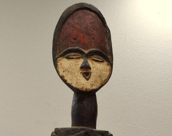 African Statue Vuvi Tribe  Figurative Face Carved Statue Vuvi House Post Gabon