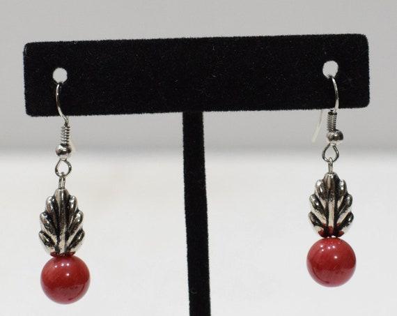Earrings Red Chinese Coral Earrings