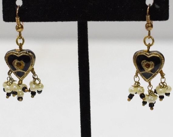 Earrings India Black Gold Drop Earrings