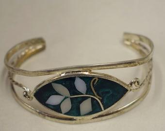 Bracelet Silver Wrist Cuff Shell Mother Pearl Leaves Green Enamel Bracelet