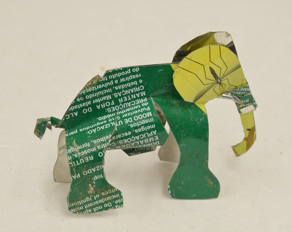 Toy Elephant African Recycled Green Yellow Tin Can Tanzania Handmade Vintage Toy Elephant Animals Recycled Tin Unique One of a Kind