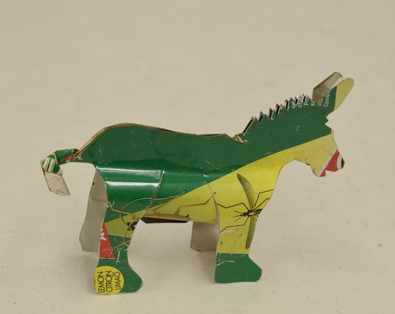 Toy Donkey African Recycled Green Red Tin Can Tanzania Handmade Vintage Toy Donkey Animals Recycled Tin Unique One of a Kind
