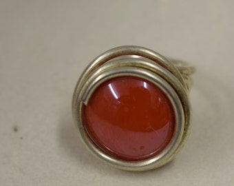 Ring Silver Red Colored Glass Handmade Glass Silver Jewelry Ring Fun Red Color Glass Unique