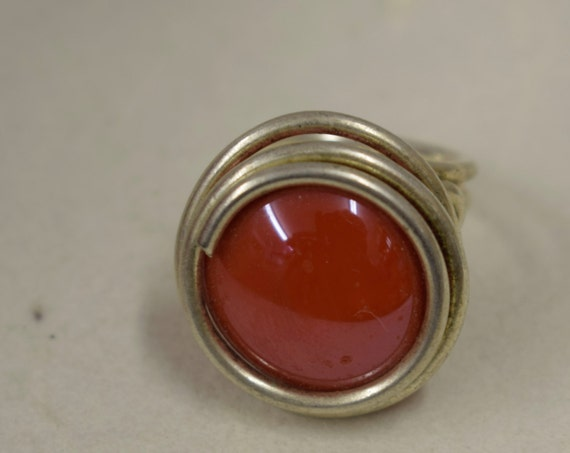 Ring Silver Red Orange Colored Glass Handmade Glass Silver Jewelry Ring Fun Red Orange Color Glass Unique