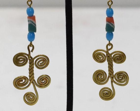 Earrings African Brass Long Coiled Earrings