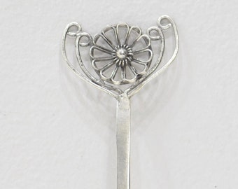 Hair Stick Pin Silver Miao Hill Tribe Filigree Flower Hair Pin