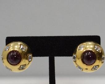 Earrings Gold Cubic Zirconia Button Clip Earrings
