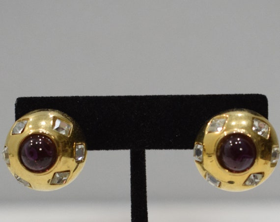 Earrings Gold Cubic Zirconia Button Clip Earrings