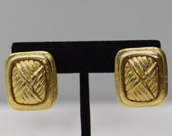 Earrings Gold Woven Metal Clip Earrings