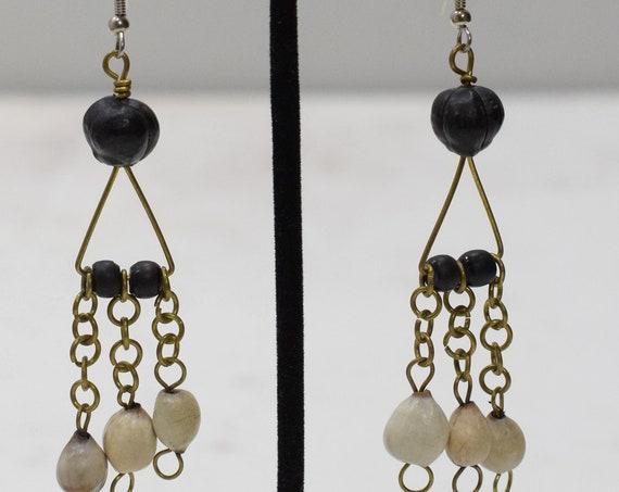 Earrings African Brass Black White Earrings
