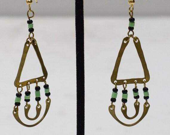 Earrings African Brass Triangle Loop Earrings