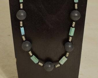 Necklace Chinese Turquoise Bone Black Bead Necklace