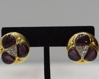 Earrings Gold Purple Glass Clip Earrings