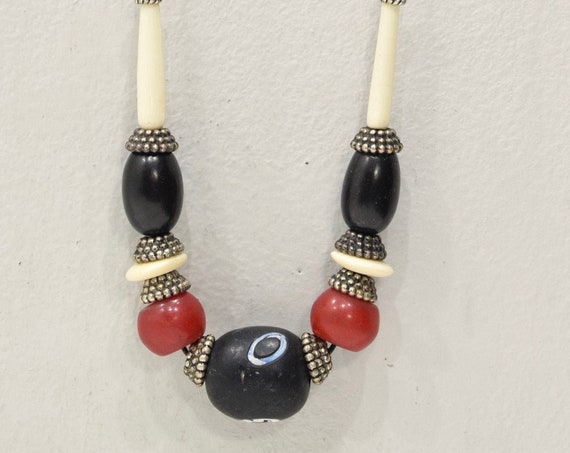 Necklace African Glass Bone Silver Cord Necklace