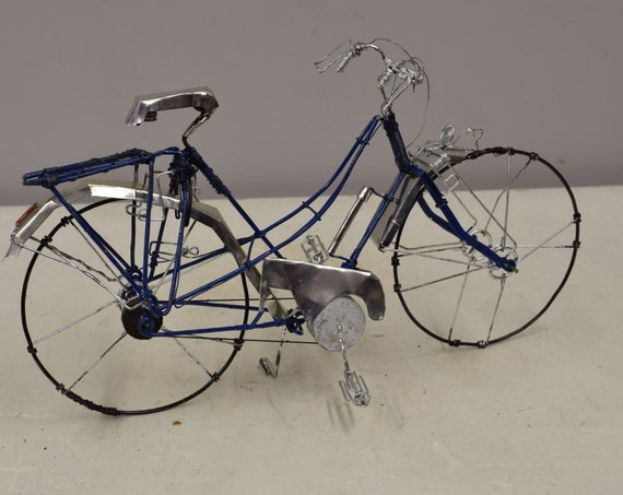 Bicycle African Recycled Tin Can  Blue Wire Wheel Bicycle Tanzania Handmade Recycled Tin Bicycle Boys Toys Cars Trucks Unique One of a Kind