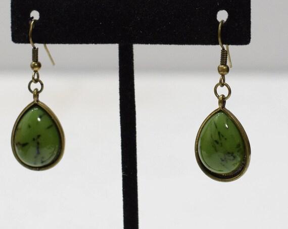 Earrings Green Brass Dangle Earrings