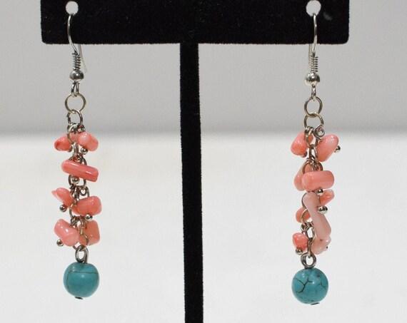 Earrings Faux Turquoise Coral Earrings