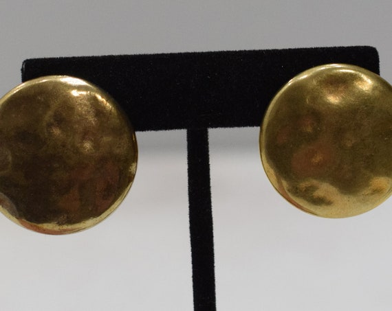 Earrings Hammered Gold Clip Earrings