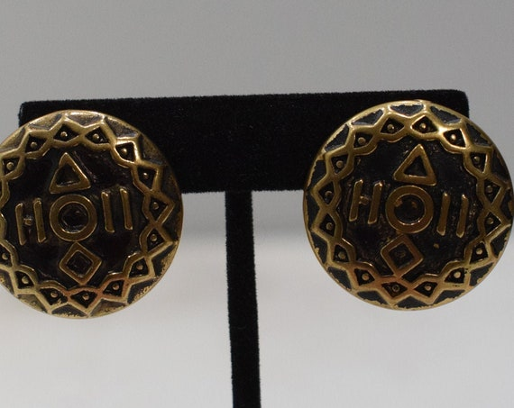 Earrings Gold Tribal Clip Earrings