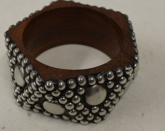 Bracelet Bangle Wood Silver Beads Discs Handmade Jewelry Bangle Wood Silver Fun Bracelets Unique
