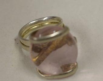 Ring Silver Light Purple Colored Glass Handmade Glass Silver Jewelry Ring Fun Clear Light Purple Color Glass Unique