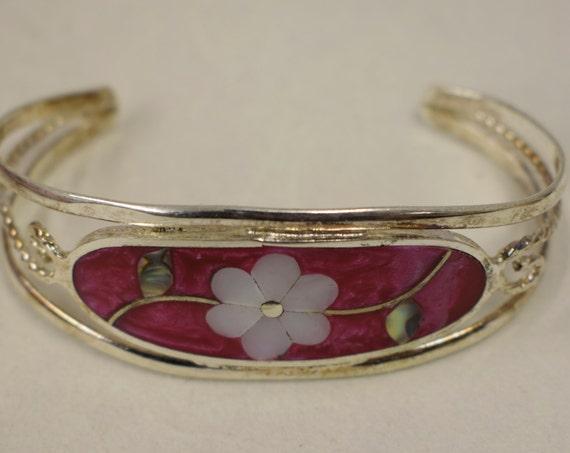 Bracelet Silver Wrist Cuff Shell Mother Pearl Flowers Vintage Enamel Bracelet Handmade Silver Pink Enamel Shell Cuff Bracelet