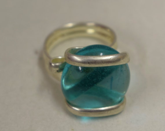 Ring Silver Dark Aquamarine Blue Colored Glass Handmade Glass Silver Jewelry Ring Fun Dark Aquamarine Color Glass Unique