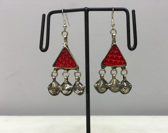 Earrings Silver Middle Eastern Triangle Red Plastic Reflector Light Dangle Charms  Handmade Silver Red Belly Dance Charms Dangle Unique E181