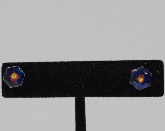 Earrings Blue Resin Flower Post Earrings