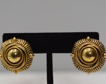Earrings Gold Textured Clip Earrings