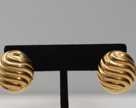 Earrings Gold Swirl Oval Clip Earrings