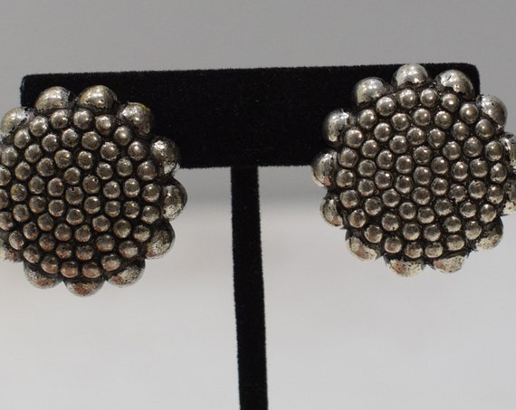 Earrings Ornate Bead Silver Clip Earrings