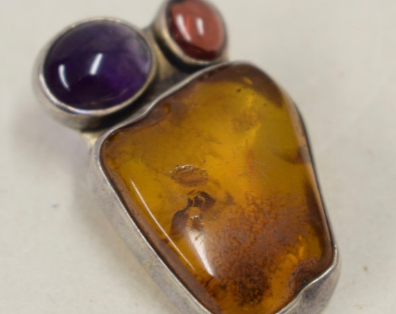 Pendant Sterling Silver Baltic Amber Amethyst Handmade Handcrafted Silver Jewelry Necklace Gift for Her Birthday Yellow Amber Purple