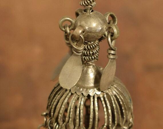 "Beads Silver Earring Kuchi Swat Silver Single Tribal Jewelry Middle Eastern Kuchi  5"""